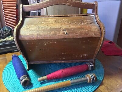 Antique Wooden Sewing Box and Vintage Wood Industrial Thread Spools w Thread