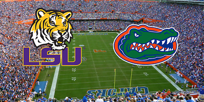 2 LSU TIGERS @ vs FLORIDA GATORS  10/10/20 - LOWER SIDELINE ROW 6 - AISLE!!!