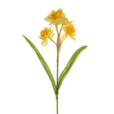 Quality Artificial / Silk Flowers Daffodil Cheerfulness  Bunch of 3 Stems Yellow
