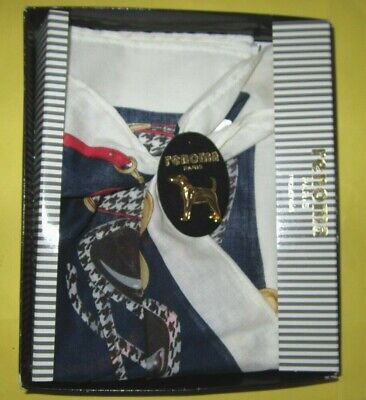 Renoma of Paris Handkerchief Unused Still in Box with Metal Dog Pin Mouchoirs