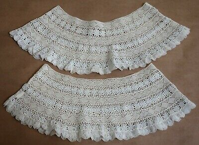 Beautiful Antique Lace Pair Of Pettcoat Hems Suitable For Christening Gowns