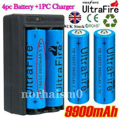 4pcs BRC 18650 3.7V 9900mAh Li-ion Lithium Rechargeable Battery + 18650 Charger