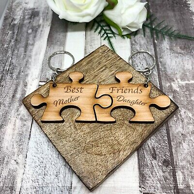 Engraved personalised SET OF 2 best friends jigsaw keyring/'s gift pouchLT51