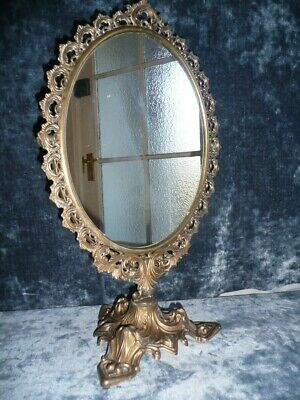 Ornate Victorian Brass Frame Swing out Makeup Mirror free standing