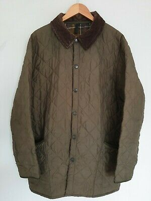 Barbour Classic Eskdale Mens Jacket Khaki Green Quilted Tartan Lining Size XL