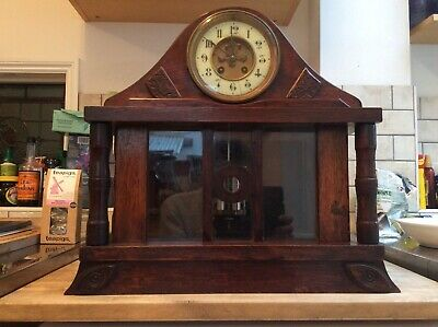 Large Wooden French Mantle Clock