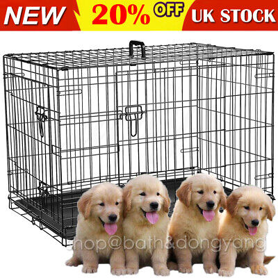 Dog Cage Puppy Pet Crate Small Medium Large XL XXL Folding Metal Secure Cages UK