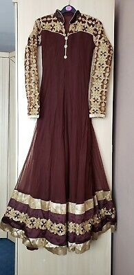 Brown Gold Indian Pakistani Anarkali Wedding Mehndi Lengha Salwar Kameez Dress