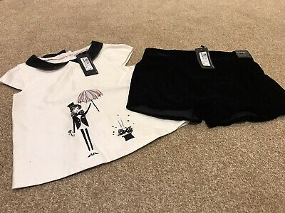 Girls Autograph Marks And Spencers Black Short And White Top Outfit BNWT Age 6-7