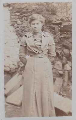 Old Vintage Photo Fashion Young Woman Girl Dress F5