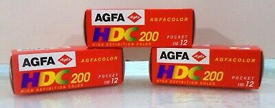 Agfa Hdc 200 Three Films X 12 For Color Prints New In Box