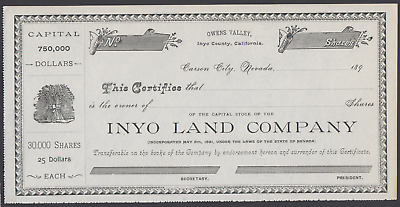 1890s Inyo County Land Co. Stock Certificate California - Carson City, Nevada