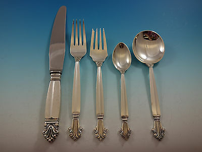 Acanthus by Georg Jensen Sterling Silver Flatware Set 8 Service 44 Pcs Dinner