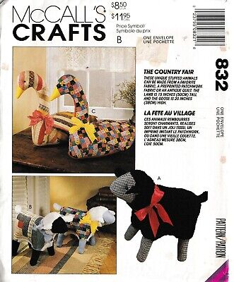 Country Fair Patchwork Stuffed Soft Toy Animals Lamb Geese Goose Sewing Pattern