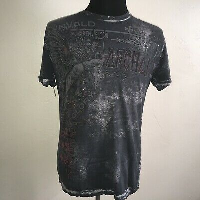Archaic Affliction t-shirt Large black short sleeve Metal studded cotton tee