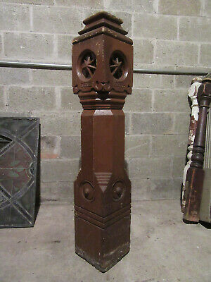 ~ Massive Antique Carved Oak Newel Post 50 Tall ~ Architectural Salvage ~