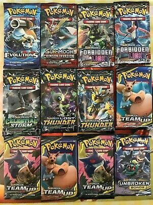 12 x Pokemon Booster Pack - New & Sealed - Pokemon TCG Sun & Moon Guardians...