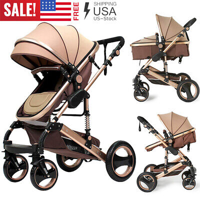 3 in 1 Baby Stroller High View Landscape Stroller Folding Carriage w/Car Seat US