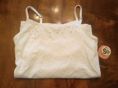 new girls sz 10 12 m  so white cami tank shelf bra rhinestones