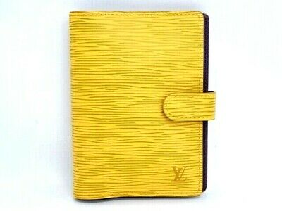 Auth LOUIS VUITTON Agenda Cover PM Epi Leather Yellow Spain 0 Ship 20160287700 K