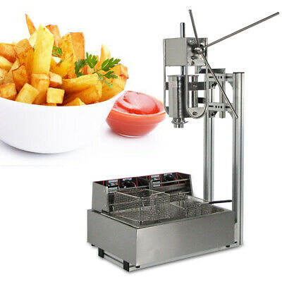 3L Vertical Churro Maker Manual Spanish with Stand+Heavy Duty 12L Electric Fryer