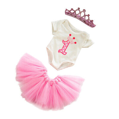 18inch Girl Dolls Princess Skirt Bodysuit & Crown Set Birthday Dress Outfit Pink