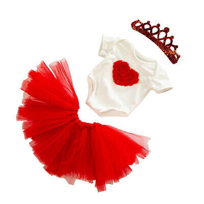 18inch Girl Dolls Princess Skirt Bodysuit & Crown Set Birthday Dress Outfit, Red