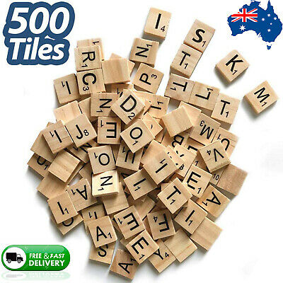 500pcs Wooden Tiles ABC Letters Numbers For Crafts Alphabets Scrabble Tiles game