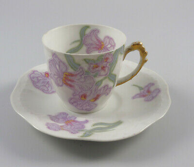 J. Pouyat Limoges France Jugendstil Blumen  Gold um 1900