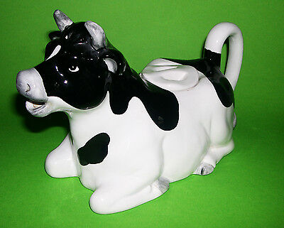 Otagiri Hand Crafted Pottery Japan - Large Novelty Black & White Cow Teapot