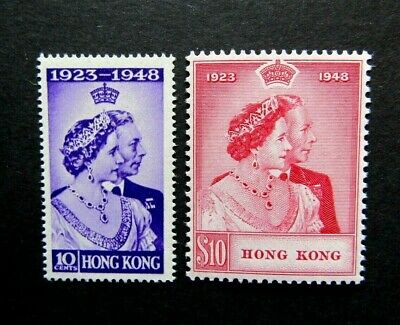 1948 Hong Kong - KGVI Royal Silver Wedding Stamps - SG 171 & 172 - MNH