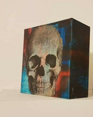 Hand crafted, decoupage skull ornamental, shelf art work, ideal gift