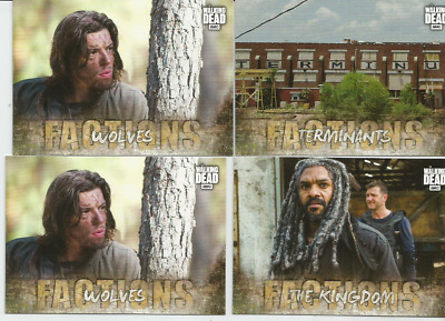 "2018 Topps Amc Walking Dead Road To Alexandria Lot Of 4 ""Factions"" Insert Cards"