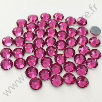 Strass thermocollant rond hotfix ROSE FUCHSIA, 2mm, 3mm, 4mm, 5mm, 6mm au choix