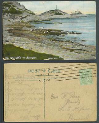 The Mumbles near Swansea, Lighthouse, Seaside Panorama 1907 Old Colour Postcard