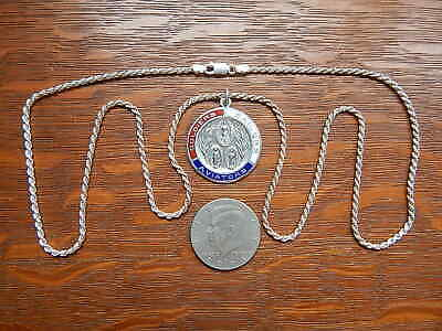 WWII 1940s Military Enamel Large Saint Christopher Sterling Silver Pendant Chain