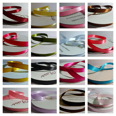 10mm wide Double Sided Satin Ribbon 50 metres reels - various colours
