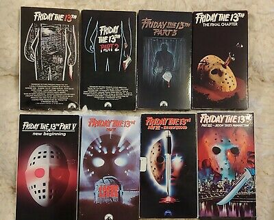 FRIDAY 13TH HORROR MOVIE VHS TAPE LOT Movies 1-8