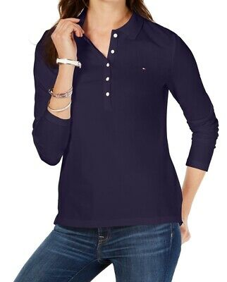 Tommy Hilfiger Womens Top Navy Blue Size 2X Plus Button Down Polo $44 101