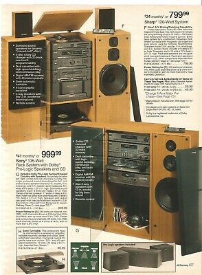 Vintage 1993 Sony And Sharp Home Stereo Systems Catalog Print Ads Clipping