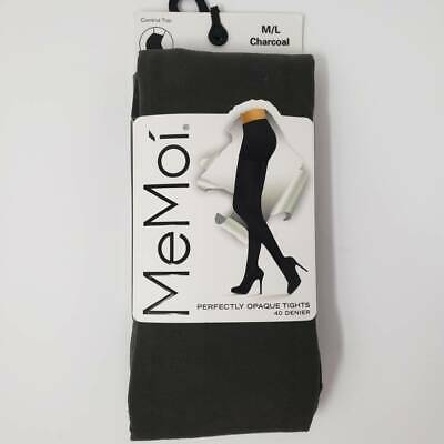 MeMoi Fashion Opaque Tights 1 Pair Charcoal Control Top Nylon/Spandex Size M/L
