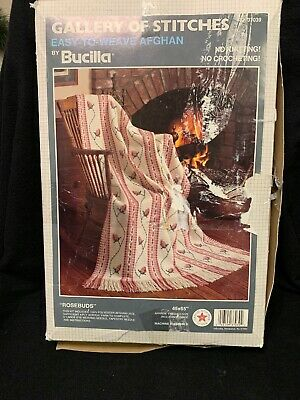 Bucilla Gallery Of Stitches Easy To Weave Afghan Rosebuds 37039 Open Box