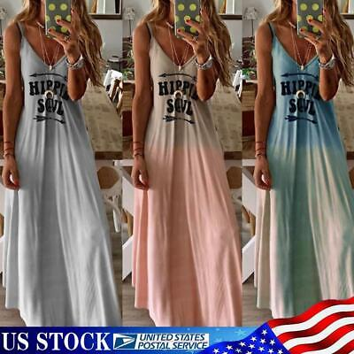 Women Summer Beach Strappy Hippie Long Maxi Dress Ladies Holiday Party Sundress