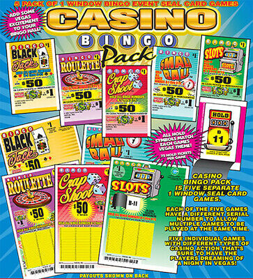 """5 Pack """"Casino Bingo Pack"""" Pull Tab Ticket $25 Profit 84 Count $50 Payout"""