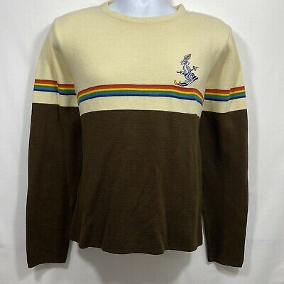 Vtg 80s Crew Neck Pullover Sweater Men's Size M Cream Brown Rainbow Stripes