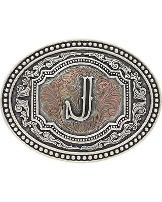 "Montana Silversmiths Men's Initial ""J"" Two-Tone Attitude Belt Buckle Silver One"