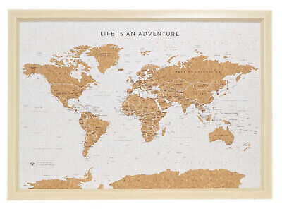 SPLOSH Personalised World Travel Map 53.5 x 36.5cm  :: Cork Board with Pins ::