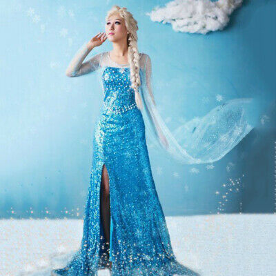 Frozen Elsa Costume Queen Princess Cosplay Comic Con Adult Women Dress Party