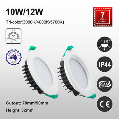 10W 12W LED DOWNLIGHT KIT CCT Tri Colour Flat/Recessed Face Dimmable 70/90mm