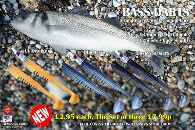 Bass Darts Sea fishing Lures 4/0 Hooks Beach & Rock Casting soft silicone Lure